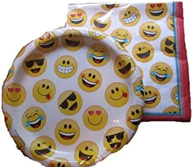 Emoji Face Dessert Plates & Napkins (20) Plates & (20) Napkins