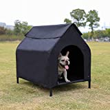 AmazonBasics Elevated Portable Pet House, Small (35 x 32 x 26 Inches), Black