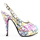 Show Story White Multi-colored Rope Knot Open Toe Platform Party Pump,LF30416WT39,8US,White