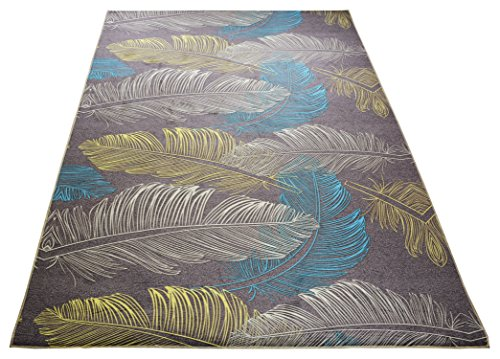 Inspired Slip - Nature Inspired Printed Area Rug Slip Resistant TPR Rubber Back Exotic Patterns (Feathers Taupe, 4'11