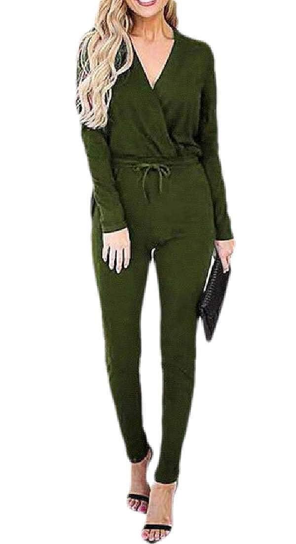 UUYUK Women V Neck Wrap Pockets Long Sleeve Drawstring Waist Jumpsuit Romper