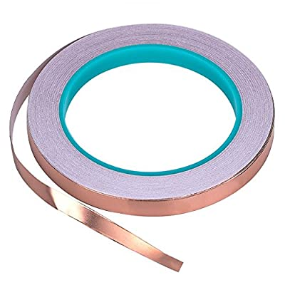 Bullet Face Copper Foil Tape with Double-sided Conductive (1/2inch X 21.8yards)- EMI Shielding,Stained Glass,Soldering,Electrical Repairs,Slug Repellent,Paper Circuits,Grounding
