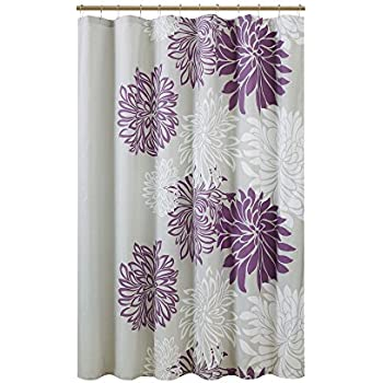 Comfort Spaces Enya Shower Curtain Purple Grey Floral Printed 72x72 Inches