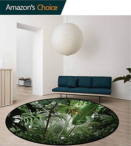 RUGSMAT Rainforest Non-Slip Area Rug Pad Round,Tropical Rainforest Preservation Humidity Palm Tree Wild Environment Misty Nature Protect Floors While Securing Rug Making Vacuuming,Diameter-71 Inch