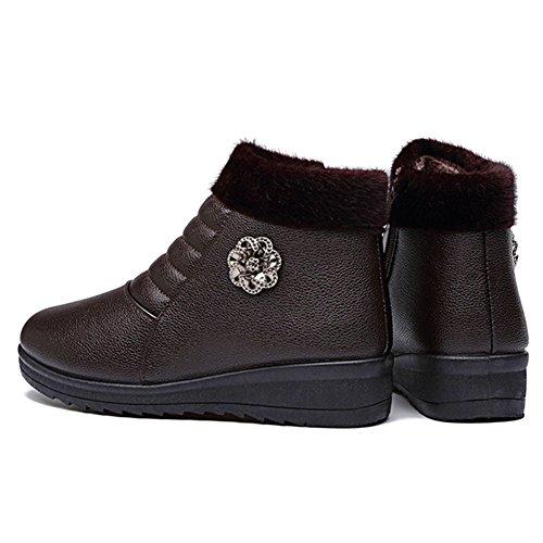 Women's Type Low Side BERTERI Outdoor Zipper Boot PU Winter Shoe Brown Hiking Backpacking Heel Citizen Senior aqwExq1g