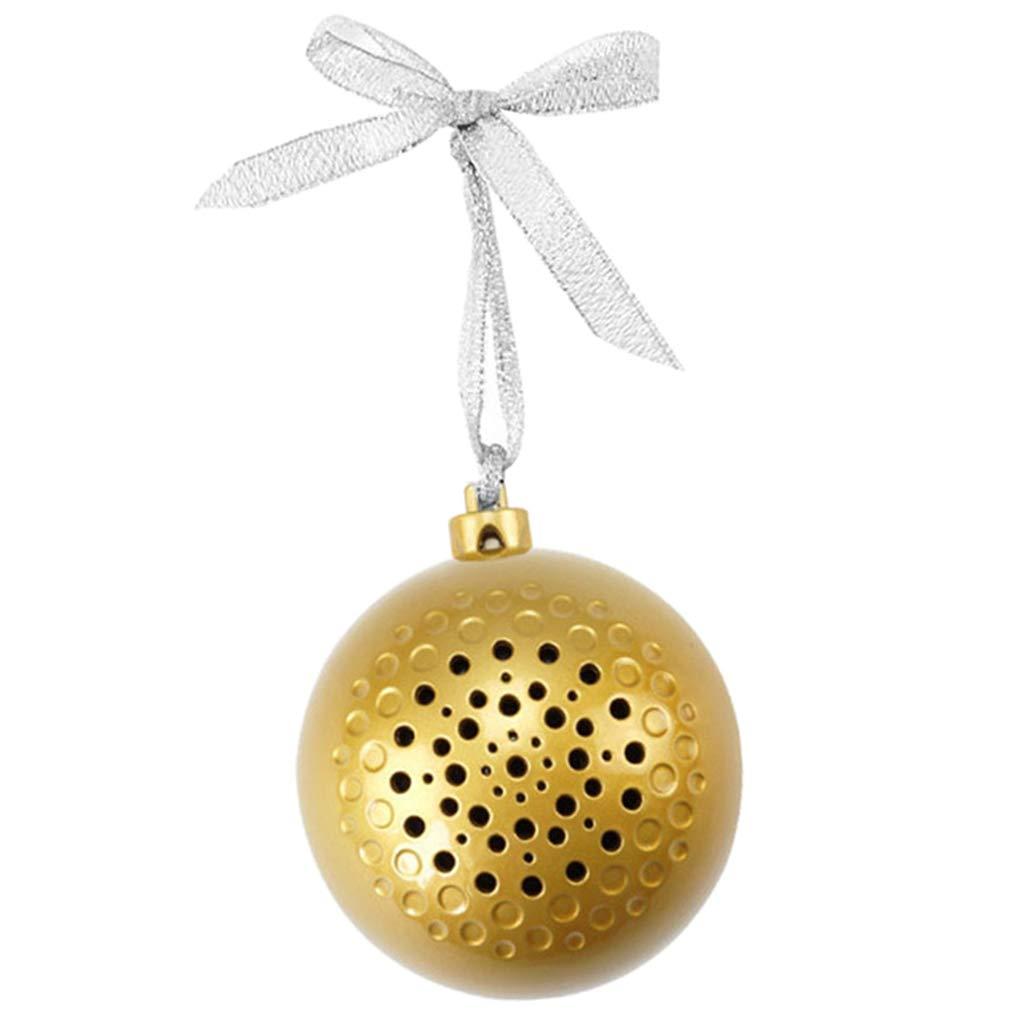 Baoblaze Bola de Navidad Altavoz Bluetooth Inalámbrico de Música Decoración - Dorado