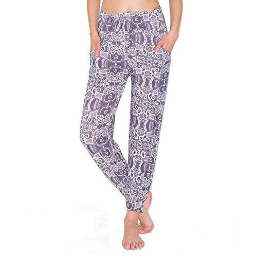 Women's Purple Swirl Pattern Print Leggings Jogger Pants Large X-Large