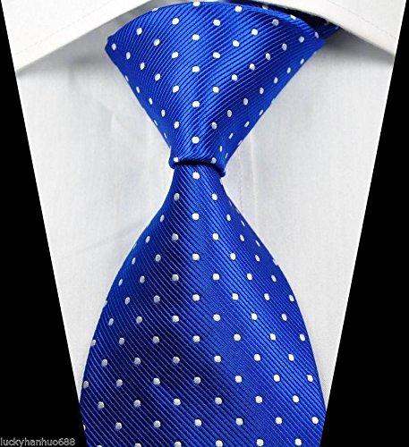 Ddang - Classic Patterns Dots Blue White JACQUARD WOVEN 100% Silk Men's Tie Necktie TNT - Dot Sunglasses Three
