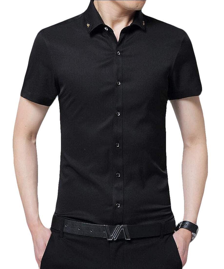 ouxiuli Men Fashion Formal Shirts Dress Shirts Short Sleeve Casual Button Down Shirts