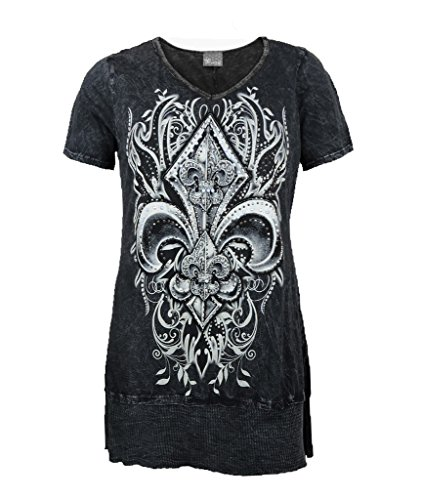 (Vocal Women Plus Size Tunic Shirt Crystal Fleur Tribal V-Neck Floral Cowgirl Short Sleeves)