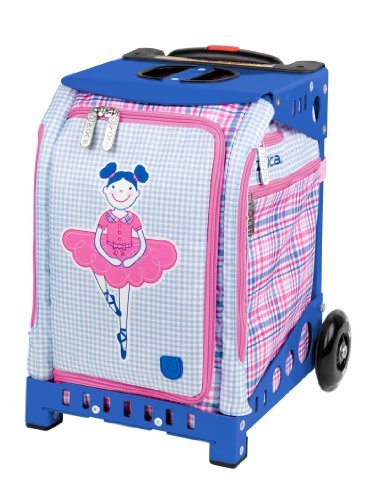 Ice Skate Backpack - Zuca Mini Rolling Bag with Built-In Seat for Kids Ages 4 and Up – Choose Your Design! (Ballerina Bag, Blue Frame)