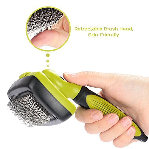 Dog Brush Cat Pet Grooming Brush Comb Self Cleaning Slicker Brush Reduces Shedding Up to 90% Removes Tangles De Sheds for Long Medium & Thick Hair Pet Green and Black by Pecute (Image #4)