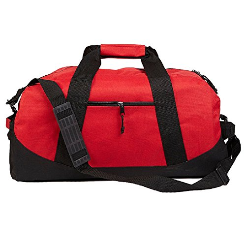 Standard Size Two Tone Duffel Bag Hook and Loop Handle (Red)