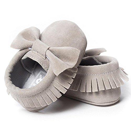 Hunpta Baby Kinderbett Fransen Pailletten Schuhe Kleinkind weiche Sohle Turnschuhe Freizeitschuhe (12 ~ 18 Monate, Lila) Grey