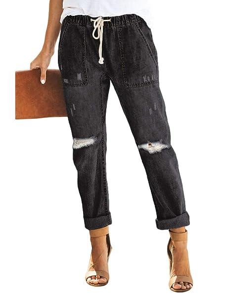 Amazon.com: OCHENTA - Pantalones vaqueros con cordón ...