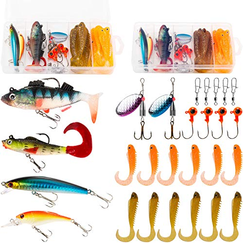 (PLUSINNO Fishing Lures Tackle kit Set for Freshwater Saltwater, Including Soft Baits Lead Head, Crankbaits, Spinner Lures, Jig Heads, Plastic Worms with Tackle Box, 27pcs Fishing Gear Lure...)