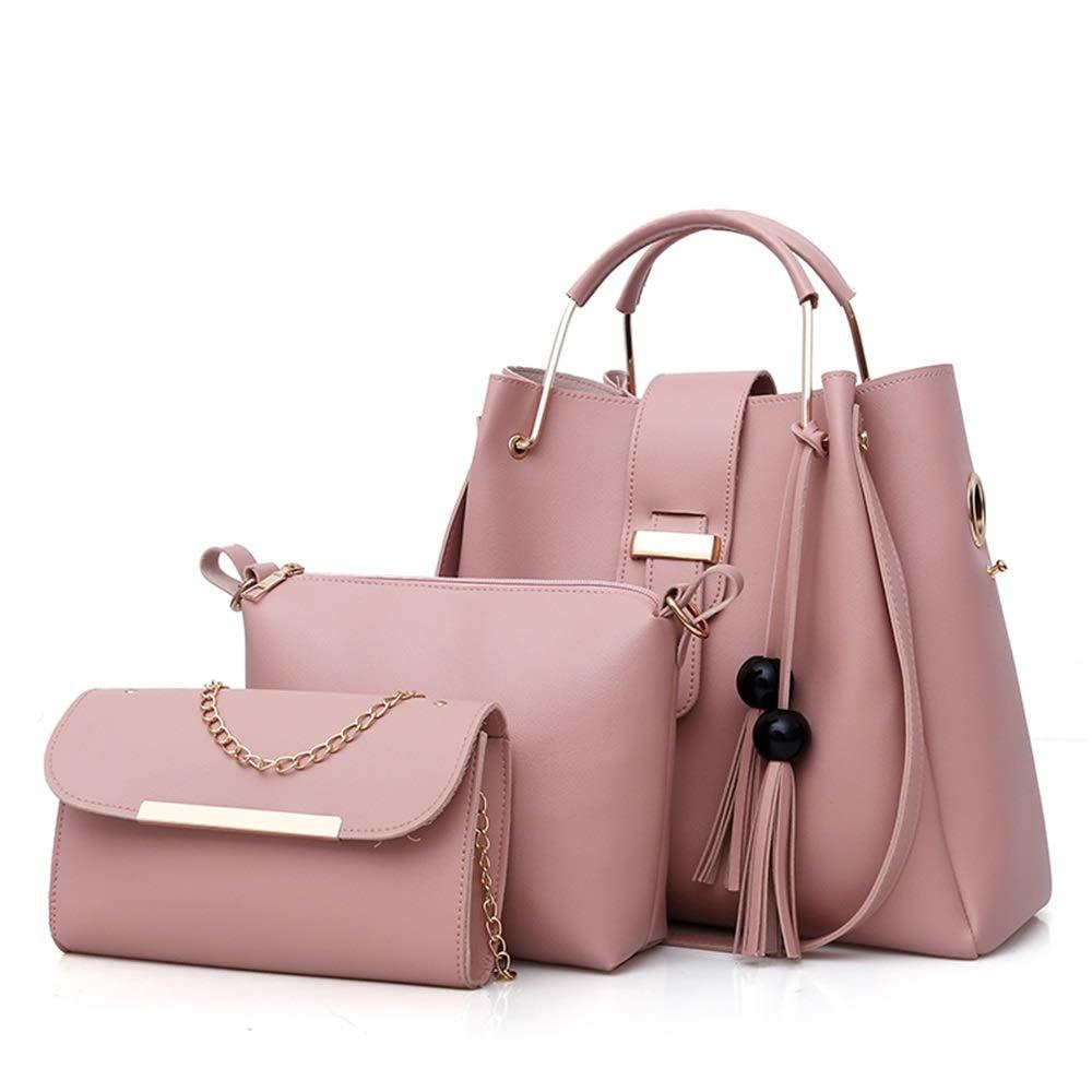 Color : Pink L.Z.HHZL Messenger Bag Solid Color Female Bag Beads Tassels Mother Bag Three-Piece Shoulder Bag Waterproof Backpack Anti-Theft Crossbody Bag