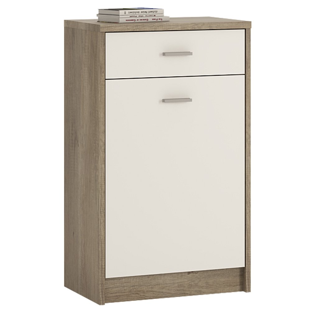 Furniture To Go 4 YOU 1-Drawer 1-Door Cupboard with Melamine, 50 x 86 x 35 cm, Canyon Grey/Pearl White Wojcik 4050852
