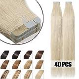Adhesive Natural Hair Extensions, 40 Pieces, 100% Real Human Hair