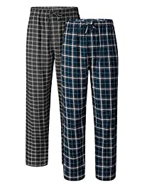 DAVID ARCHY Men's Check Lounge Sleep Bottoms Cotton Flannel Woven Pajamas Pant