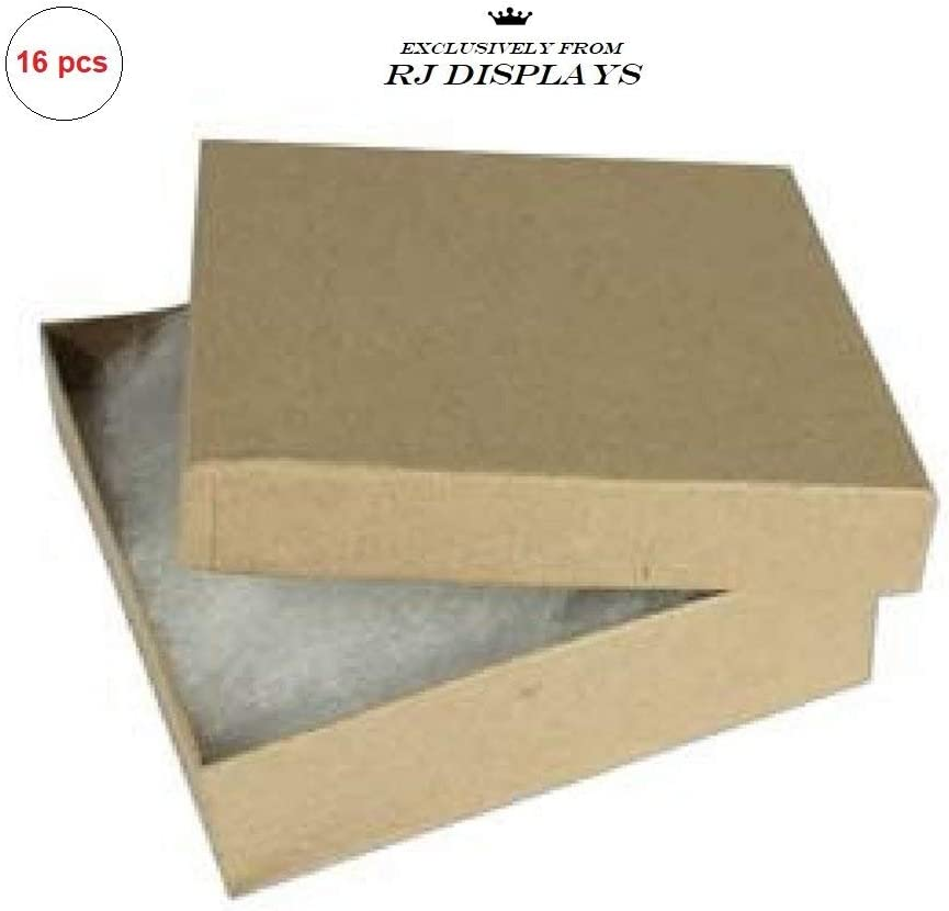 THTC Brown Kraft Square Cardboard Jewelry Gift Boxes 3.5 x 3.5 x 1 Inches-16 Pack