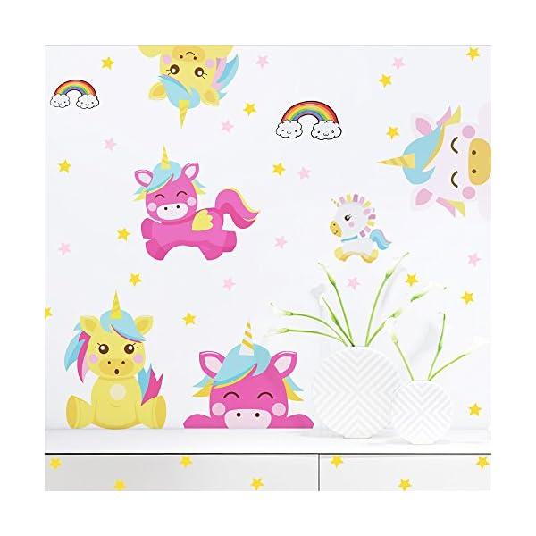 Arttop Unicorn Wall Sticker Baby Nursery Unicorn Wall Decal Rainbow Wall Stickers Star Wall Decal Nursery Wall Decor 5