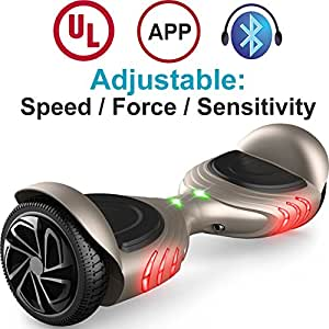 TOMOLOO Hoverboard with Bluetooth Speaker & LED Light and App Khaki Two-wheel Self Balancing Scooter with UL2272 Certified