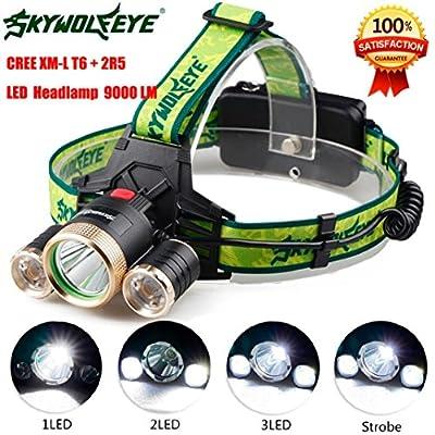 Iuhan® Fashion 9000Lm 3X XML T6+2R5 LED Headlight Headlamp Flashlight 18650 Torch Light Lamp
