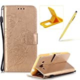 Strap Case for Samsung Galaxy Grand Prime G530,Wallet Leather Cover for Samsung Galaxy Grand Prime G530,Herzzer Classic Elegant [Gold Butterfly Pattern] PU Leather Fold Stand Card Holders Smart Phone Case for Samsung Galaxy Grand Prime G530 + 1 x Free Yellow Cellphone Kickstand + 1 x Free Yellow Stylus Pen