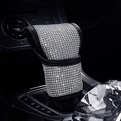 Auto Gear Lever Cover for Center with Bling Matrix Diamond + Simple and Elegant Design + Soft Velvet + Exquisite Leather Edging Car Decor Accessory (B - Gear Lever Cover): Automotive