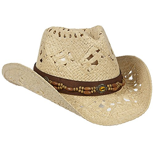 Straw Vented Shapeable Country Cowboy Hat w/ Bead Band (Creme)
