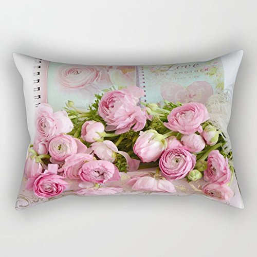 Cottage Shabby Throw - Newhomestyle Rectangular Throw Pillow Cover Shabby Chic Cottage Pink Floral Ranunculus Peonies Roses Print Cotton Home Decor Square Cushion Pillowcase 16x24 Inch