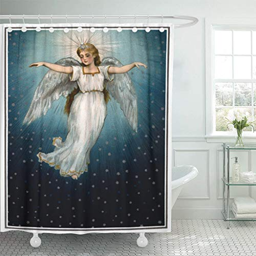 Emvency Waterproof Fabric Shower Curtain Hooks Blue Religious Vintage Christmas of Angel Flying in Starry Night Sky Circa 1890 Nostalgic 60