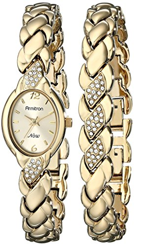 Armitron Women's 75/3901CHGPST Swarovski Crystal Accented Gold-Tone Bracelet and Watch Set