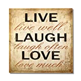 "Adeco Decorative Wood Wall Hanging Sign Plaque ""Live Laugh Love"" Beige, Brown Home Decor"