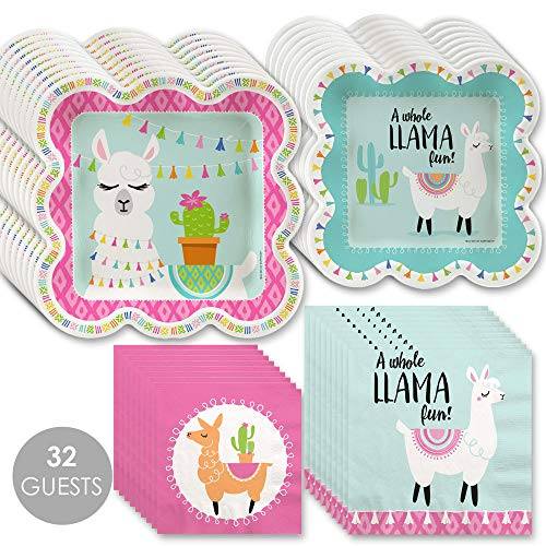 Whole Llama Fun - Llama Fiesta Baby Shower or Birthday Party Tableware Plates and Napkins - Bundle for 32