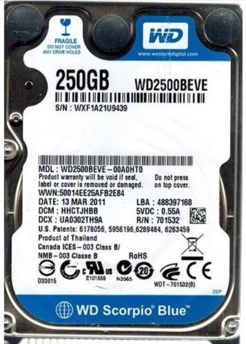 Western Digital 250GB Scorpio Blue 2.5-inch IDE/PATA Laptop Hard Drive (5400rpm 8MB Cache)