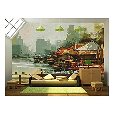 Seascape Painting Showing Old Fishing Village,Watercolor Style - Removable Wall Mural | Self-Adhesive Large Wallpaper - 100x144 inches