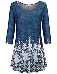 3/4 Sleeve Shirts for Women Dressy Tunic Tops Casual Wear with Floral
