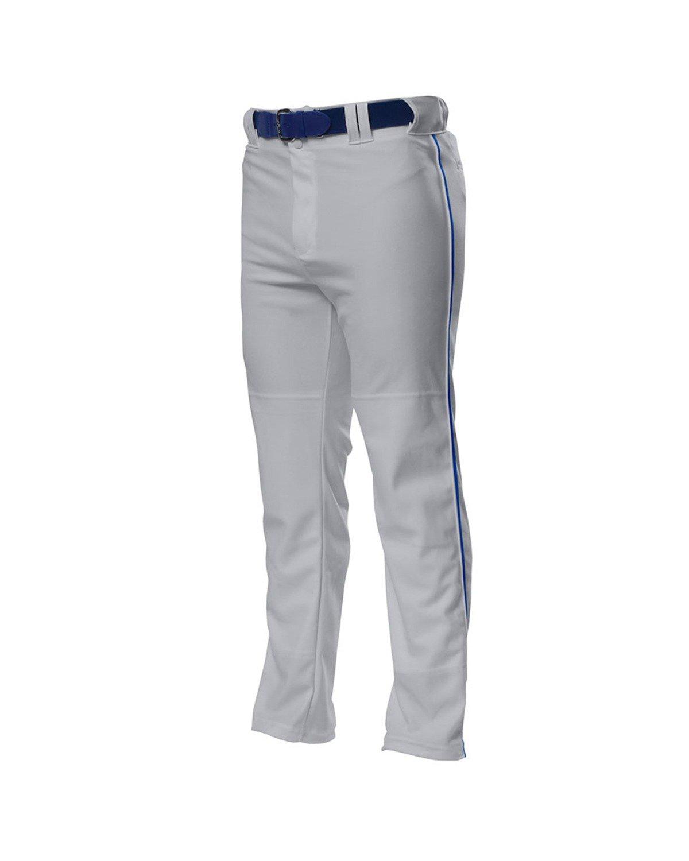 A4 野球用 バギーパンツ メンズ プロ仕様 パイピング入り B00BPXPWBS 4L|Grey/ Royal Grey/ Royal 4L