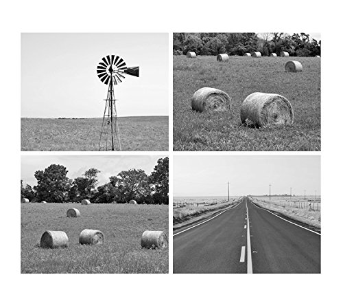 Country wall decor black and white photography farmhouse wall art windmill hay
