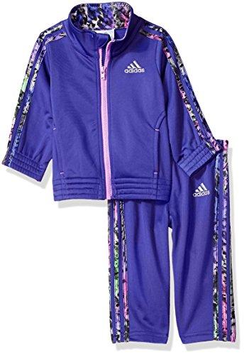 adidas Baby Girls' Tricot Zip Jacket and Pant Set, Dark Purple, 9M