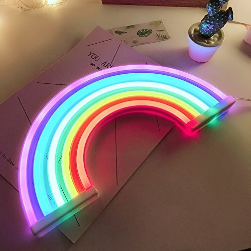 Ninight Rainbow Good Luck Neon Light, Cute Colored Night Light,Battery Or USB Powered Neon Sign as Wall Decor for Kids Room, Living Room, Festive Party by Nnight (Image #5)'