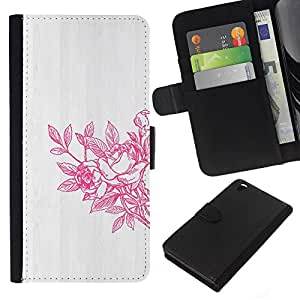 Primavera Arte lavado blanco gris- la tarjeta de Crédito Slots PU Funda de cuero Monedero caso cubierta de piel Para HTC DESIRE 816