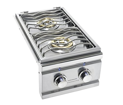 Summerset Grills Trl Double Side Burner With Led Lights TRLSB2-LP Or TRLSB2-NG Propane or Natural Gas - With FREE Grill Cleaning Kit From Premier Grilling (Side Burner - Natural Gas) by Summerset Grills