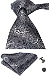 Hi-Tie New Classic Black Woven Silk Tie Handkerchief Cufflinks set
