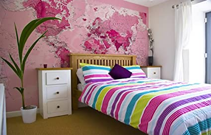 Amazoncom Pink World Map Wallpaper Wallpaper Home Kitchen - World map wallpaper for home