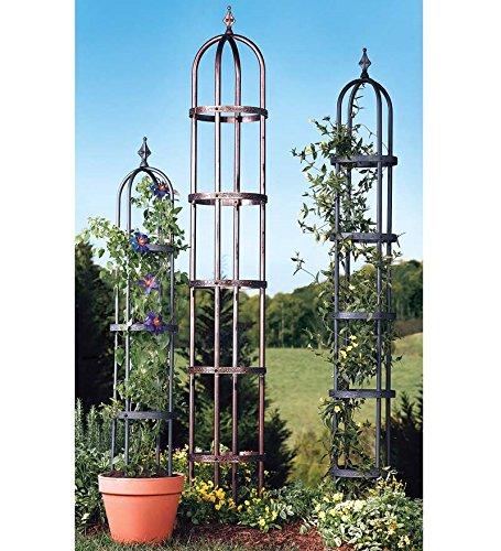Plow & Hearth 52703-ACO Powder Coated Steel Garden Obelisk Trellis, Antique Copper