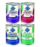 Blue Buffalo Basics Limited Ingredient 12.5-Oz Grain-Free Formula Canned Dog Food Mixed 12 Cans with 4 Flavors – Turkey & Potato - Salmon & Potato - Duck & Potato - and Lamb & Potato Recipe