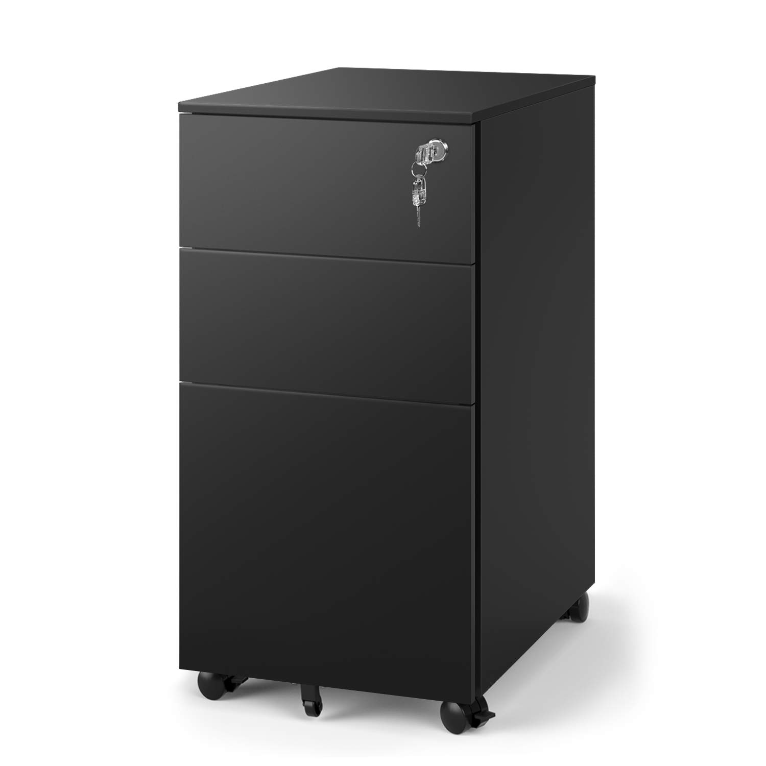 DEVAISE 3-Drawer Metal File Cabinet, Mobile Filing Cabinet for Home Office, Black